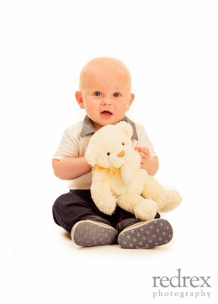 Baby with teddy bear photo shoot