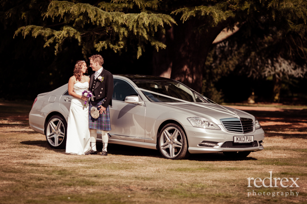 Bride and Groom, Wedding Car Delapre Park