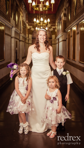 Bride with family inside Northampton Guildhall